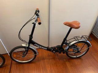 Bicicleta urbana plegable + casco + apliques.