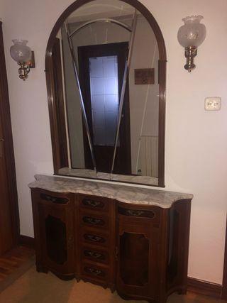 Mueble entrada + espejo (regalo lamparas)