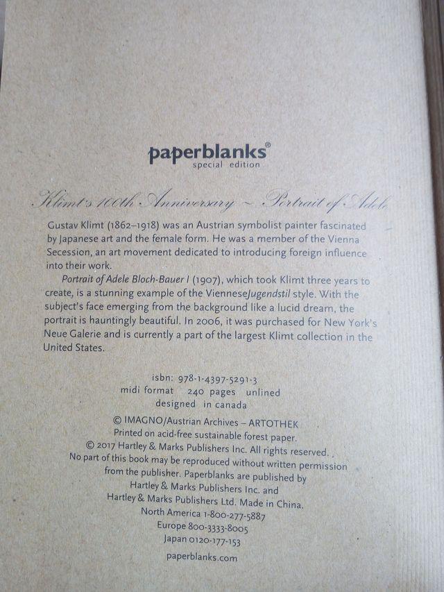 CUADERNO PAPERBLANKS CENTENARIO KLIMT ADELE NUEVO