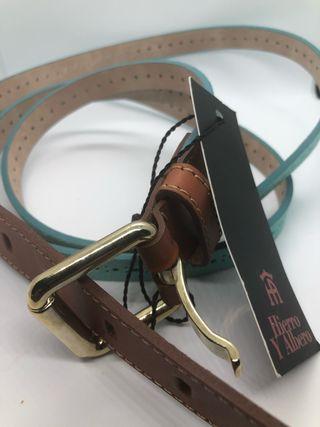 Cinturón tira doble cuero verde agua nuevo