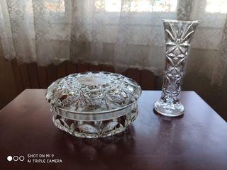 Azucarera y jarroncito cristal