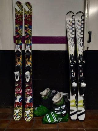 Tablas de esquí y botas