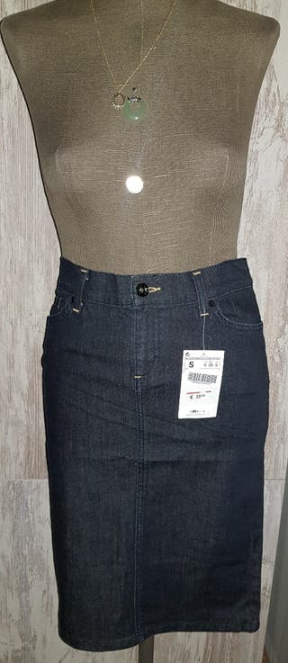 falda recta denim Zara
