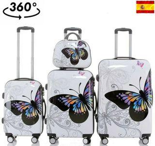 Conjunto de 4 maletas diseño mariposa giro 360