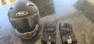 Casco Shiro y guantes Rainers