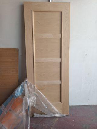 puerta maciza roble sin barnizar