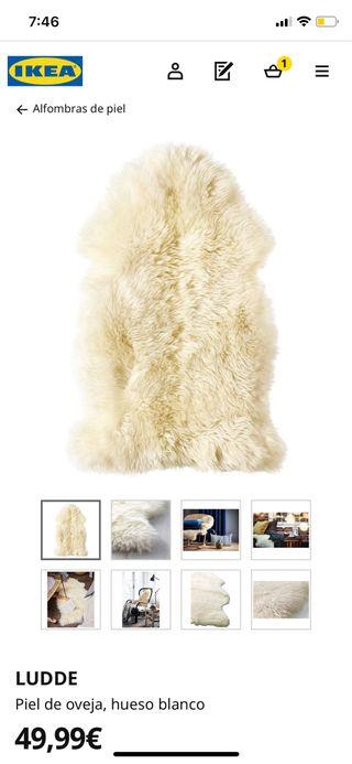 Alfombra Ikea Piel de oveja, blanco, 55x6x90cm