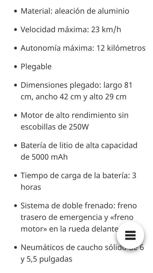 Patinete eléctrico Scooter Megawheels S1