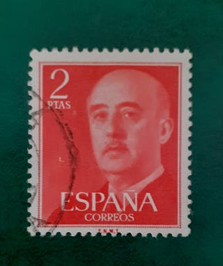 sello 2 pts rojo Franco 1955