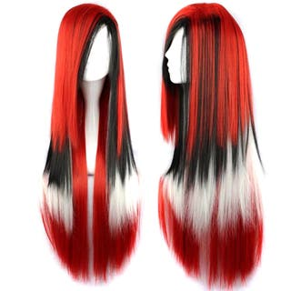 Peluca larga roja, negra y blanca