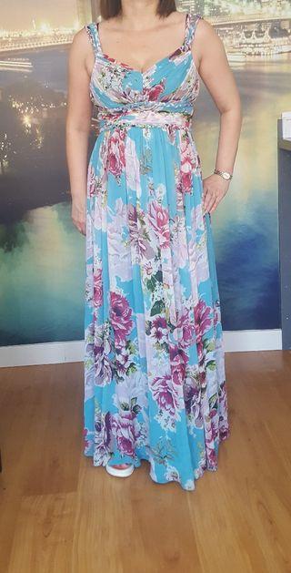 vestido largo estampado floreado