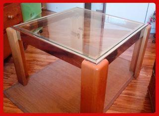 Mesa rinconera de cristal, madera y metal