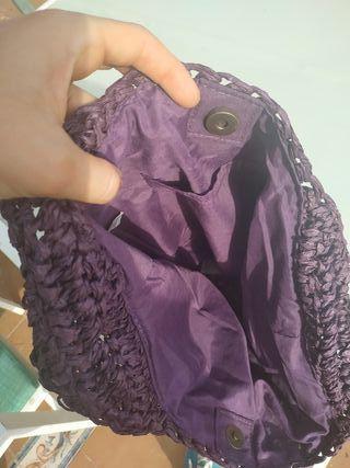 bolso lila tacto papel plástico