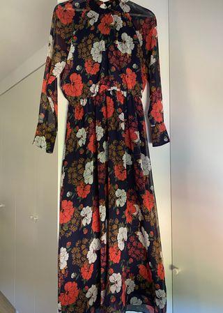 Vestido largo flores Zara talla S