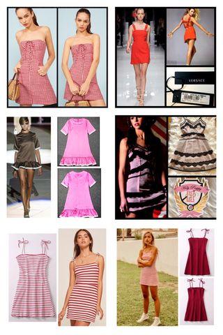 Ropa chica, mujer en rojo y rosa. Vestidos XXS-Xs