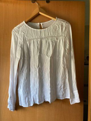 Blusa blanca ibicenca promod talla s