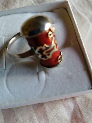 anillo plata, coral.
