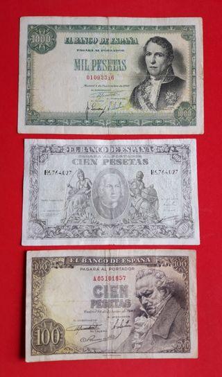 Lote de 3 billetes de España