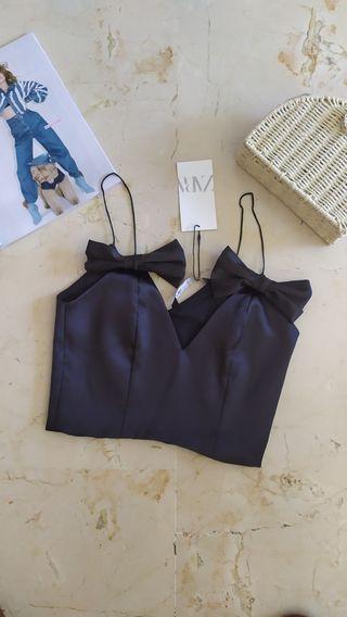 Top lazos negro Zara