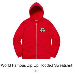 Supreme world famous zip up hooded sweatshirt