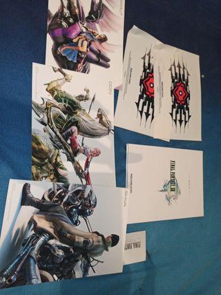 final fantasy XIII artbook pegatinas y postales