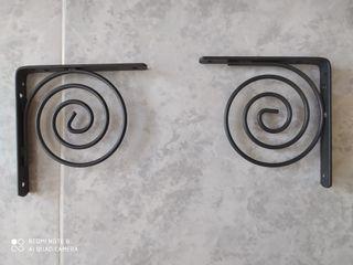 Soportes de forja gris metalizado.