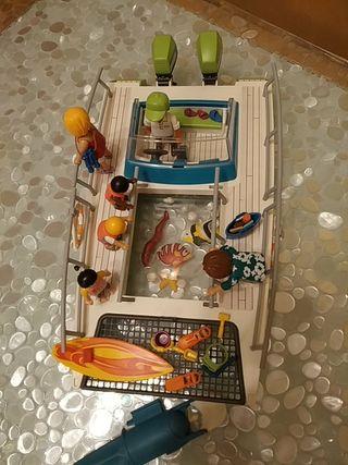 Barco visitas fondo Playmobil con caja