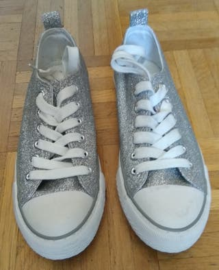 Zapatillas chica brillos talla 37