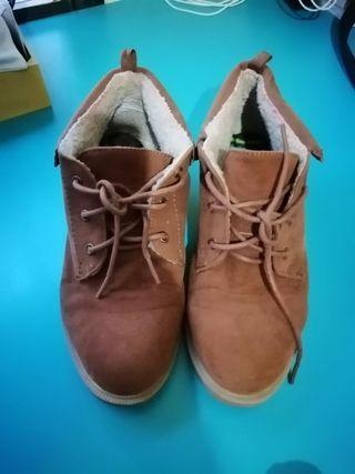 zapato bota marron borrego