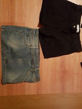 pack 3pantalones cortos + 1falda tejana