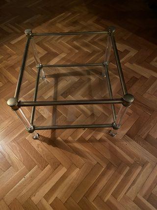 Mesa auxiliar de metal, cristal, metacrilato