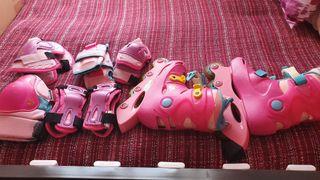 patines línea 31,casco,rodillera,