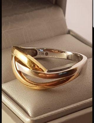 anillo de oro 18kt blanco y amarillo