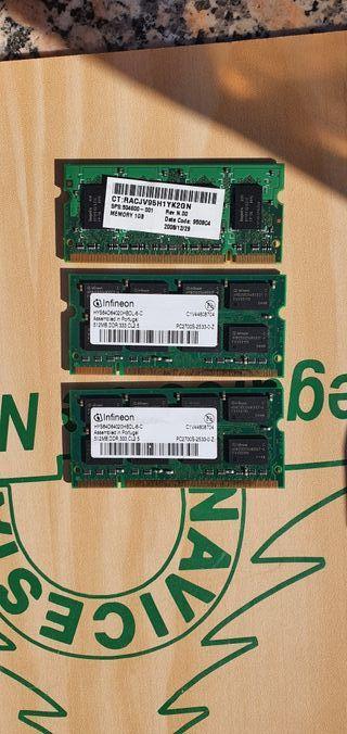 Memoria Ram 1 gb y 512