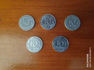 Lote 5 monedas 10 céntimos 1959 franco españa