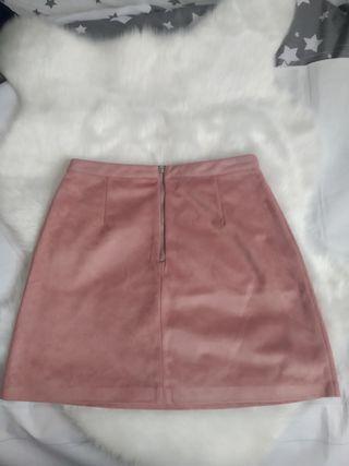Falda terciopelo rosa palo