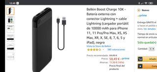 batería externa belkin 10.000 mah lightning