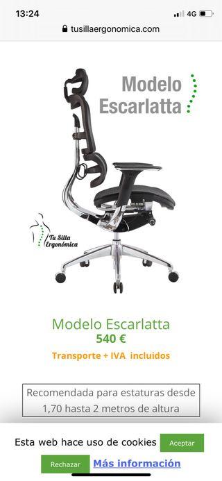 Silla ergonómica/oficina. Precio de compra 540€.