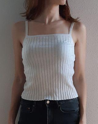 Camiseta blanca tirantes canalé