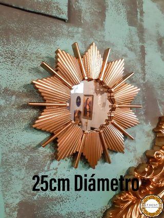 Espejo Sol Artdeco 25cm Diámetro Oro Cromo