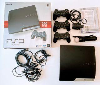 PS3 con 3 mandos, mando move, cámara...