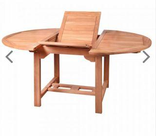 Mesa madera Teca jardín extensible pequeña.