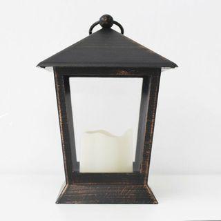 Farol con vela LED 16 cm negro / cobre a estrenar