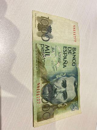 Billete de 1000 pesetas.