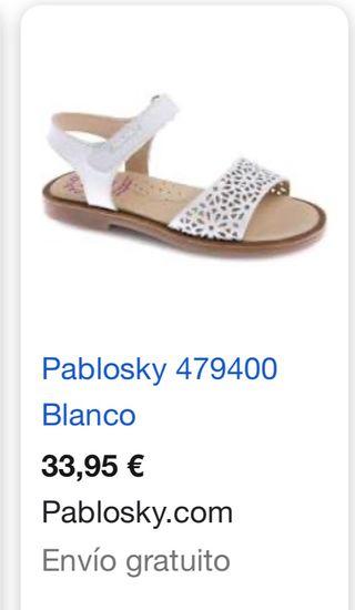 Sandalias niña talla 30 Pablosky. Piel