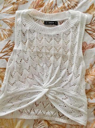 Top crochet blanco, Talla S. Sin estrenar