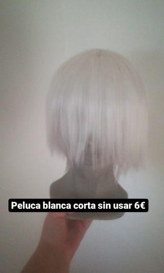 Peluca blanca corta cosplay