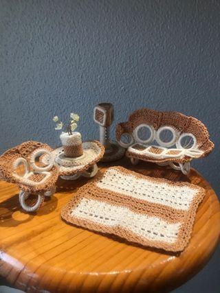 Juego salón de ganchillo Artesanía vintage