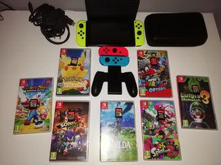 Nintendo switch completa más 7 juegos