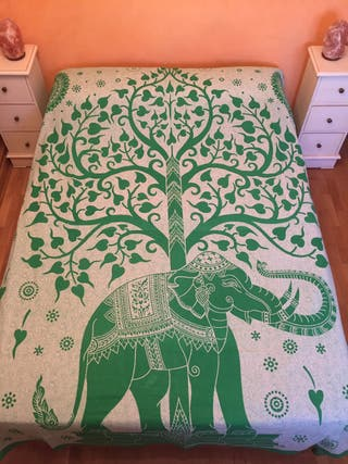 Colcha India Mandala Elefante 100% algodón de segunda mano
